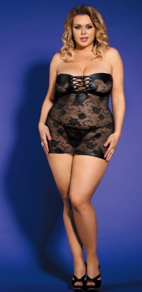 Plus size black Bodysuit