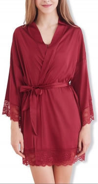 Satin and lace bathrobe