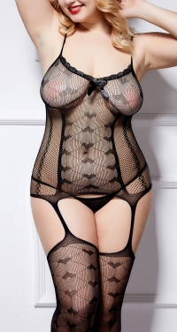 Sexy fishnet large size onesie