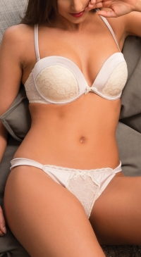 B-C cup pushup bra set - thong nude