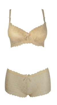 B cup bra and brief set in beige