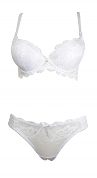 B cup bra set with thong 3 clips pushup foam white