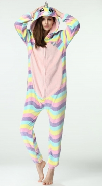 Women's unicorn jumpsuit fleece pajamas